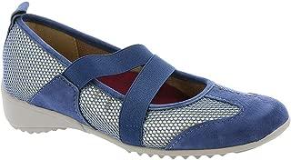 Womens Zip Round Toe T-Strap Mary Jane Flats, Blue Combo, Size 6.5