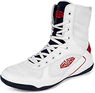 Men's Boxing Shoes, Profession Fighting Sneakers High Top Breathable Anti-Skid Indoor Wrestling Squat Fitness Training
