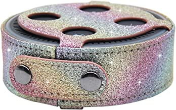 KuToo Case for Dot 2, Protective Case for Amazon Dot 2 Audio Holster (Fits Dot 2nd Generation Only) - Glitter Bling Sparkle Leather Sleeve Skins Cover (Rainbow)
