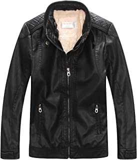 LJYH Winter Boys' Faux Leather Jacket with Zips