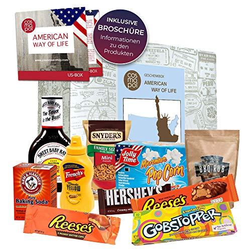 USA Geschenkbox American Way of Life außergewöhnliche Geschenkidee | Geschenk für Männer Frauen | besonderes Geschenkset Amerika Süßigkeiten + BBQ | USA Box