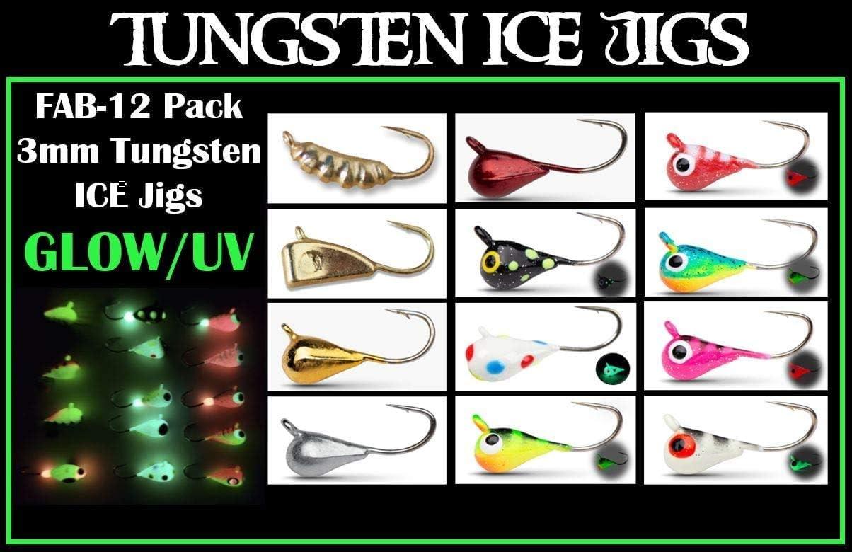 Tungsten ICE JIGS Glow UV Super intense SALE - FAB Pack Same day shipping 12 #14 0.8g Tungst Hook 3mm