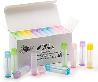 Premium Vials, 50 pcs, Multi-Color Empty Lip Balm Containers - Make Your Own Lip Balm, Empty Tubes - 3/16 Oz (5.5ml) (Multi-Color)