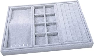 Prettyia Portable Velvet Jewelry Tray Display Organizer for Rings Earrings Necklace Pendants Bracelet Showcase(3 Colors to Select) - Grey, 35.2x24.2x3.5cm