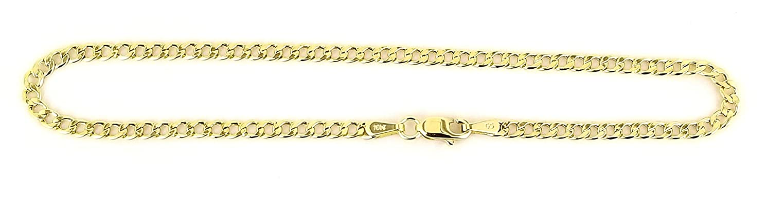 Real 10k Yellow Gold Hollow Cuban Men and Women Bracelet/Anklet 2.5 mm