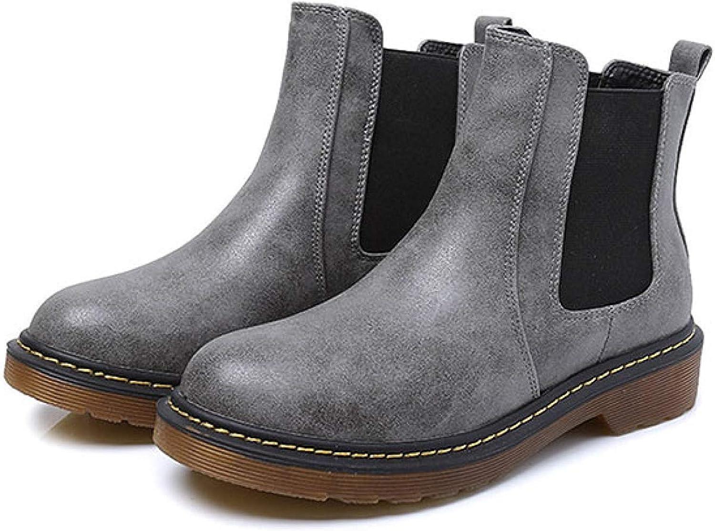Fuxitoggo Stiefeletten Retro Casual Stiefel Warme Runde Martin Stiefel Flache Schuhe (Farbe   6, Gre   36EU)