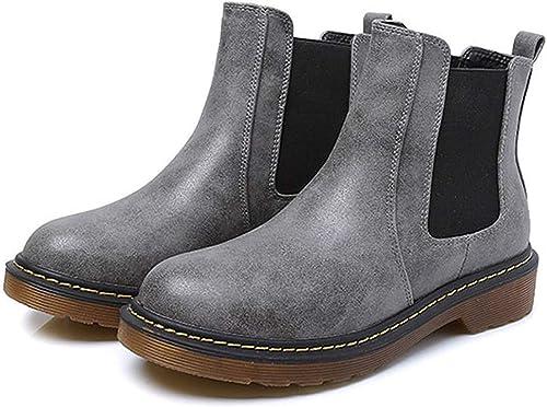 ZHRUI Botines Retro Stiefel Casuales cálidas Stiefel Martin rotondas schuhe Planos (Farbe   5, tamaño   36EU)