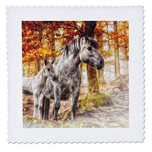 3dRose qs_172995_2 White Horses with Autumn Colors and Snow Courtesy of Julie Langford-Quilt Square, 6 by 6-Inch