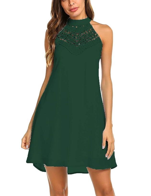 Sweetnight Womens Halter Neck Chiffon Tunic Tank Dress T Shirt Dresses