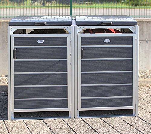 Prewood WPC Mülltonnenbox, Mülltonnenverkleidung für 2x 120l Mülltonne grau // 70x136x113 cm (LxBxH) // Gerätebox, Gartenbox & Mülltonneneinhausung - 2