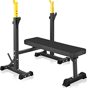 Bench Press, CANPA Olympic Weight Bench with Squat Rack Workout Bench Adjustable Barbell Rack Stand Strength Training Home Gym Multi-Function