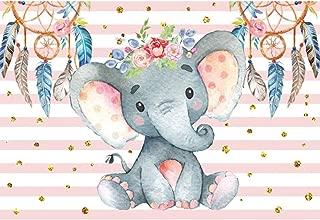 Renaiss 5x3 Vinyl Cute Baby Elephant Cartoon Theme Photography Backdrop Pink Stripe Glitter Dots Baby Shower Girl's Birthday Party Banner Cake Background Kindergarten Classroom Wallpaper