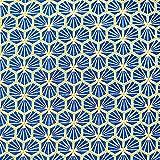 Stoff Baumwolle Meterware Blüten Waben royalblau blau Sechseck Riad königsblau Kleiderstoff Dekostoff