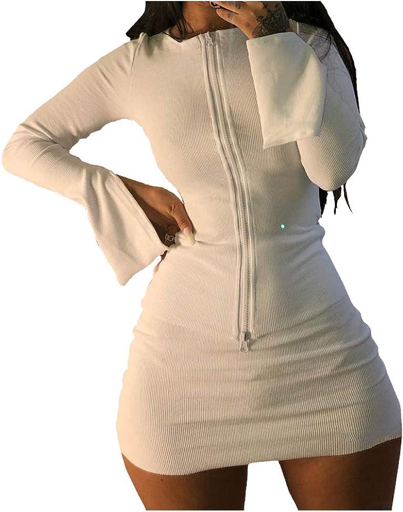 XLLAIS Women Long Sleeve Zipper Cardigan Crop Tops and Skirt Sets Sexy Mini Bodycon Dress