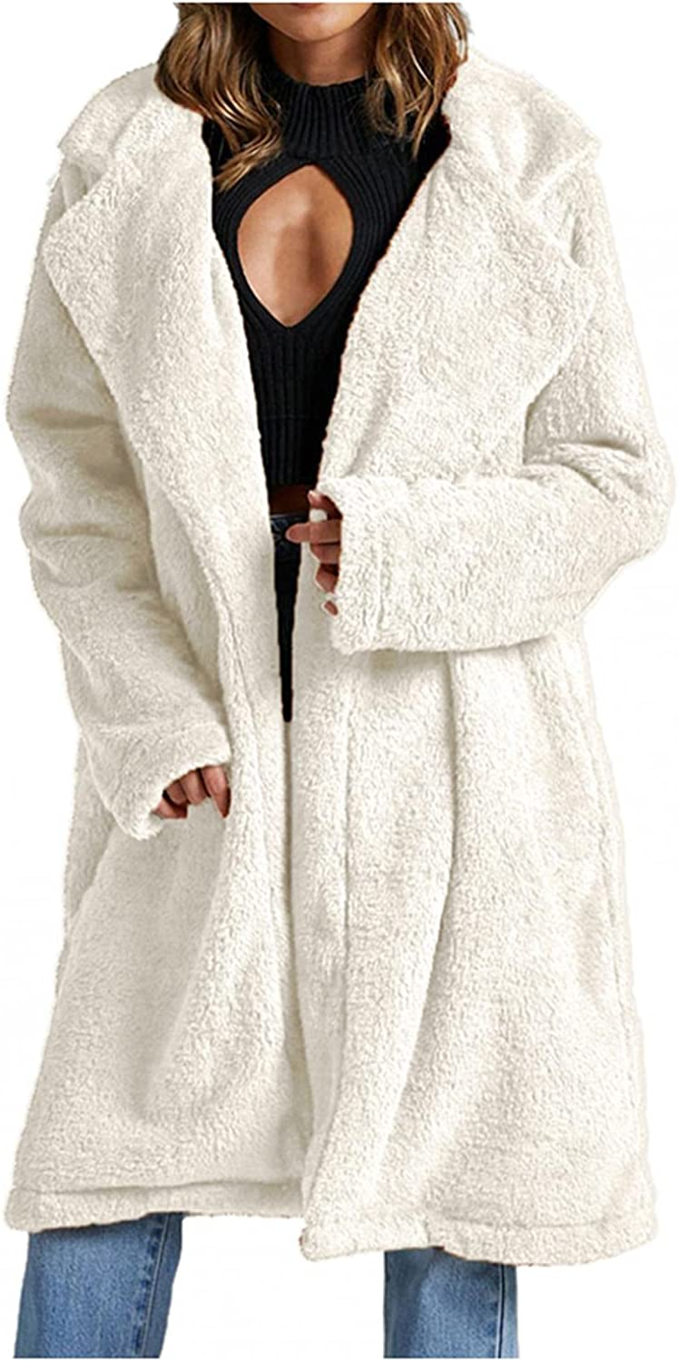 Women's Winter Fuzzy Thick Cardigan, Open Front Solid Color Loose Coat Artificial Fur Warm Outwear Long Sleeve Jackets