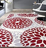 Modern Floral Circles Design Area Rugs 7'6' X 9' 5' Red