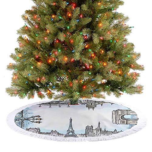 Adorise Toalla de falda de árbol famoso mundo de lugares franceses paisaje urbano en acuarela, imagen de bebé, azul y gris, decoración de fiesta de vacaciones va perfectamente con tu árbol, 122 cm