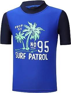 PHIBEE Boys' Short Sleeve Rash Guard Shirt UPF 50+ Sun Protection Swimwear