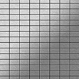 Azulejo mosaico de metal sólido Acero inoxidable Marine cepillado gris 1,6 mm de grosor ALLOY Bauhaus-S-S-MB 1,05 m2