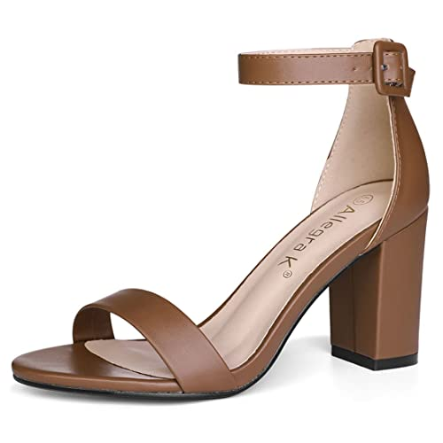 5d7ceede976 Allegra K Women Open Toe High Chunky Heel Ankle Strap Sandals