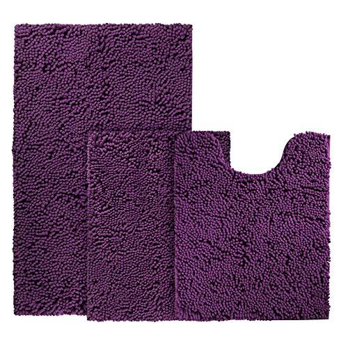 BYSURE Deep Purple Bathroom Rug Set 3 Piece Non Slip Extra Absorbent Shaggy Chenille Bathroom Rugs...