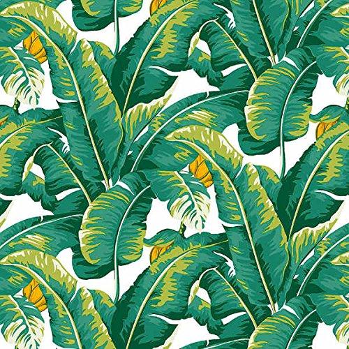 Tela por metros de loneta estampada - Ancho 280 cm - Largo a elección de 50 en 50 cm   Hojas tropicales - Verde, blanco, naranja