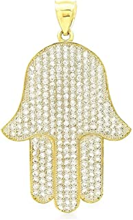 14k Yellow Gold Created Diamond Hamsa Hand Of Fatima Pendant 1.5