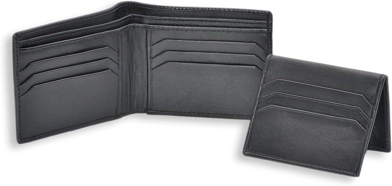 LEATHER SR Wallet for Men Full Grain Genuine Leather Bi-fold Stylish Wallet with 2 ID Windows (Black)