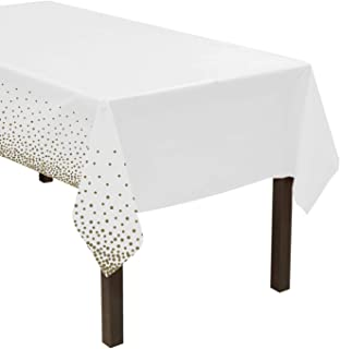 """Party Essentials Heavy Duty Disposable 54"""" x 108"""" Printed Plastic Rectangle Table Cover/Tablecloth/Banner, 1-Count, White ..."""