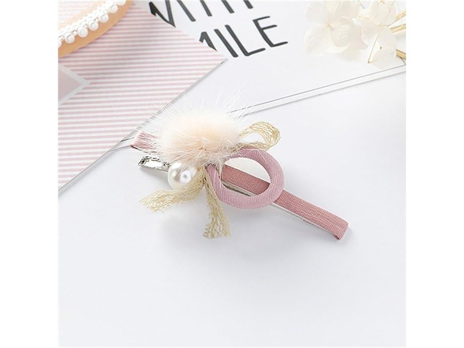 分類バー自分を引き上げるOsize 美しいスタイル キャンディーカラーノットレースヘアピンジオメトリックサークルパールワンワードクリップヘアアクセサリー(ピンク)