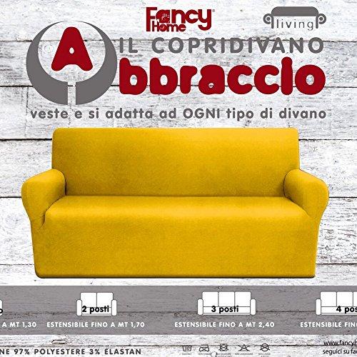 FANCY HOME Copridivano 3 Posti Elasticizzato Abbraccio Royal
