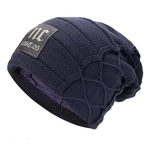 c8ead0a0267 HSRT Mens Plus Velvet Thick Warm Knitted Hat Casual Letter Solid Slouchy  Beanie Hat