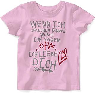 Mikalino Baby/Kinder T-Shirt mit Spruch für Jungen Mädchen Unisex Kurzarm Wenn ich sprechen könnte würde ich Sagen: Opa ich Liebe Dich | handbedruckt in Deutschland