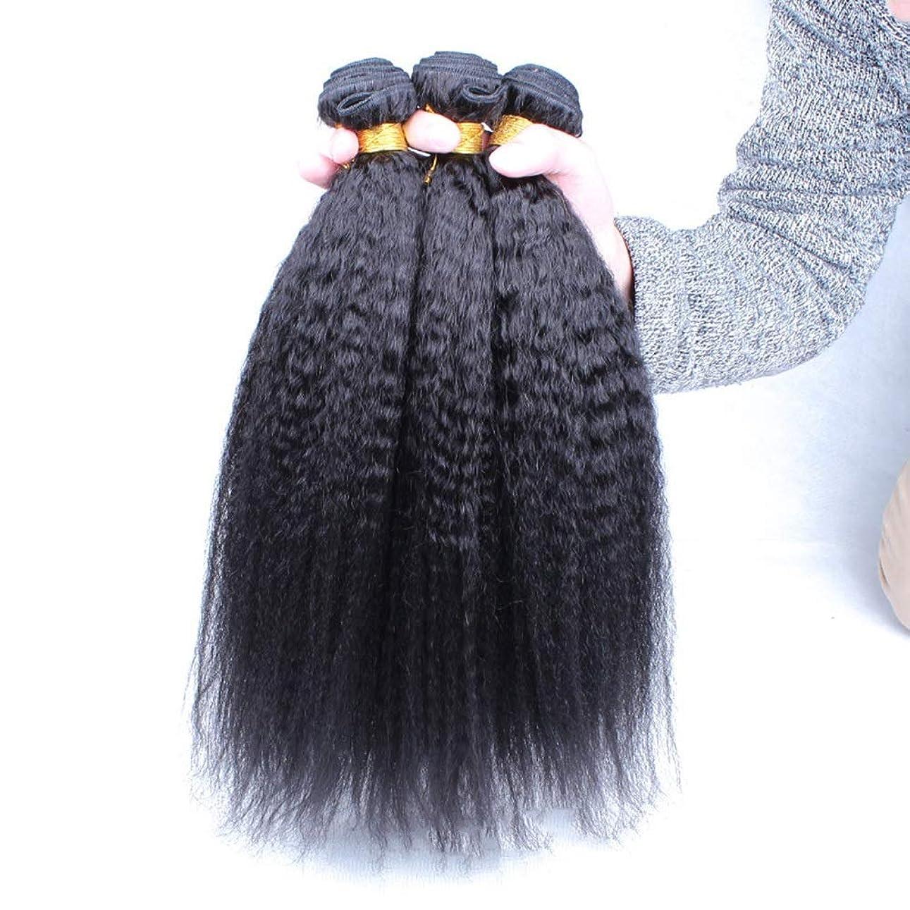 サドルペア関数Isikawan 焼きストレートヘア織り人毛100%エクステンションナチュラルブラックカラー(10インチ-24インチ)ブラジル人変態ストレート人間の髪の毛の束 (色 : ブラック, サイズ : 20 inch)