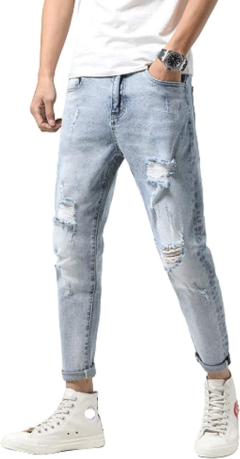 New security life Men's Jeans with Ripped Edges Slim Torn Skinny Stretch Cas