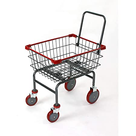 1.8 bu Household & Commercial Charcoal Grey EZ Assemble Cart with U- Handle (RED)