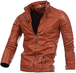 VividYouMen VividYou Men Oblique Zipper Solid-Colored Faux Fur Pocketed Biker Jacket
