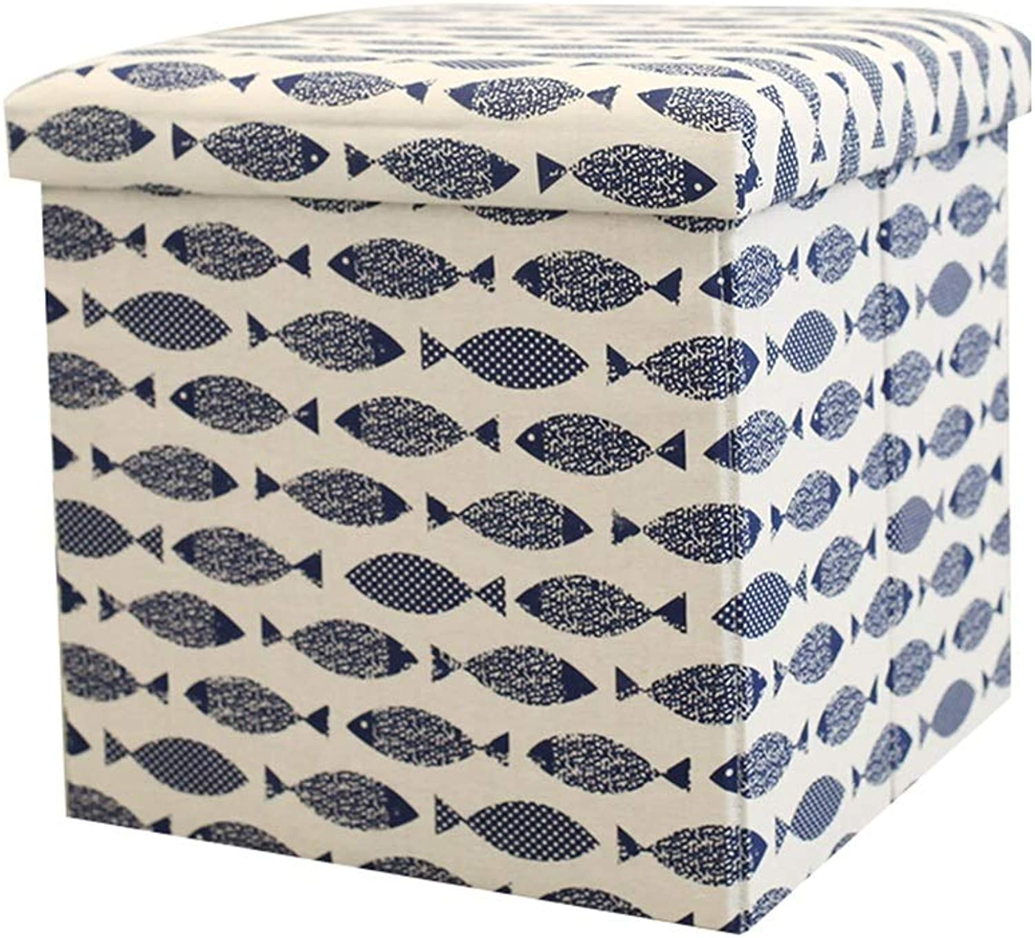AGLZWY Footstool Storage Stool Multipurpose Cloth Fold Fashion Living Room Storage Box Change shoes Sofa Bed Tail Makeup, Multiple colors (color   B, Size   38X38X38CM)