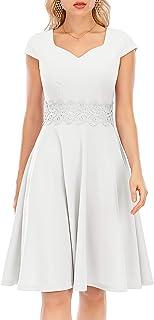 Bbonlinedress Damen 1950er Vintage Retro Kleid Kleider Rockabilly Cocktailkleid Partykleid Faltenkleid Abendkleider Kurzarm V-Ausschnitt