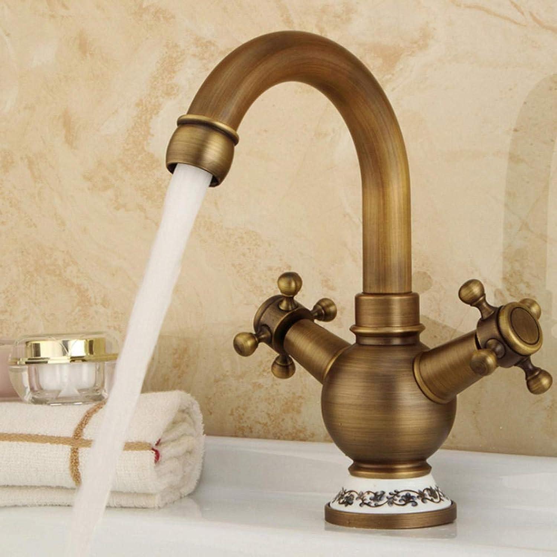 Hiwenr Hochwertige Vintage-Stil Bad Waschbecken Wasserhahn Antik Messing Krper Doppelgriff Kalt- Und Warmwasser Mischbatterie