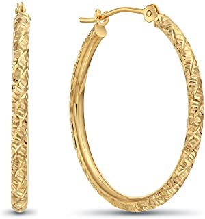 TILO JEWELRY 14k Gold Hand Engraved Diamond-cut Round Hoop Earrings -1'' Diameter
