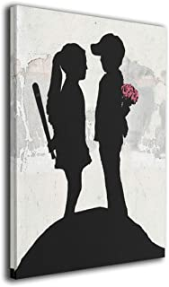 Steven Robert バンクシー Banksyによる落書き芸術 キャンバス アートパネル アートフレーム モダン フレーム アートボード 部屋飾り 壁掛け ソファの背景絵画 木枠セット アート ストリート (40*50cm) (Banks...