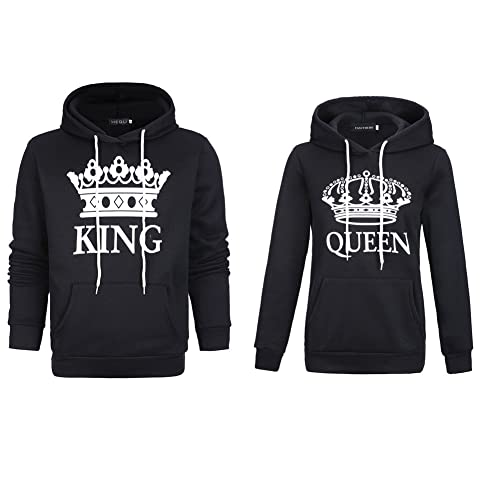 f6487ea9546 YJQ King and Queen Matching Couple Hoodies Pullover Hoodie Sweatshirts