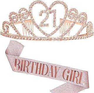 """REYOK Oro Gold 21 Anni di Compleanno Donna Tiara Birthday Corona 21 Compleanno + """"Birthday Girl"""" Sash per Feste di Complea..."""