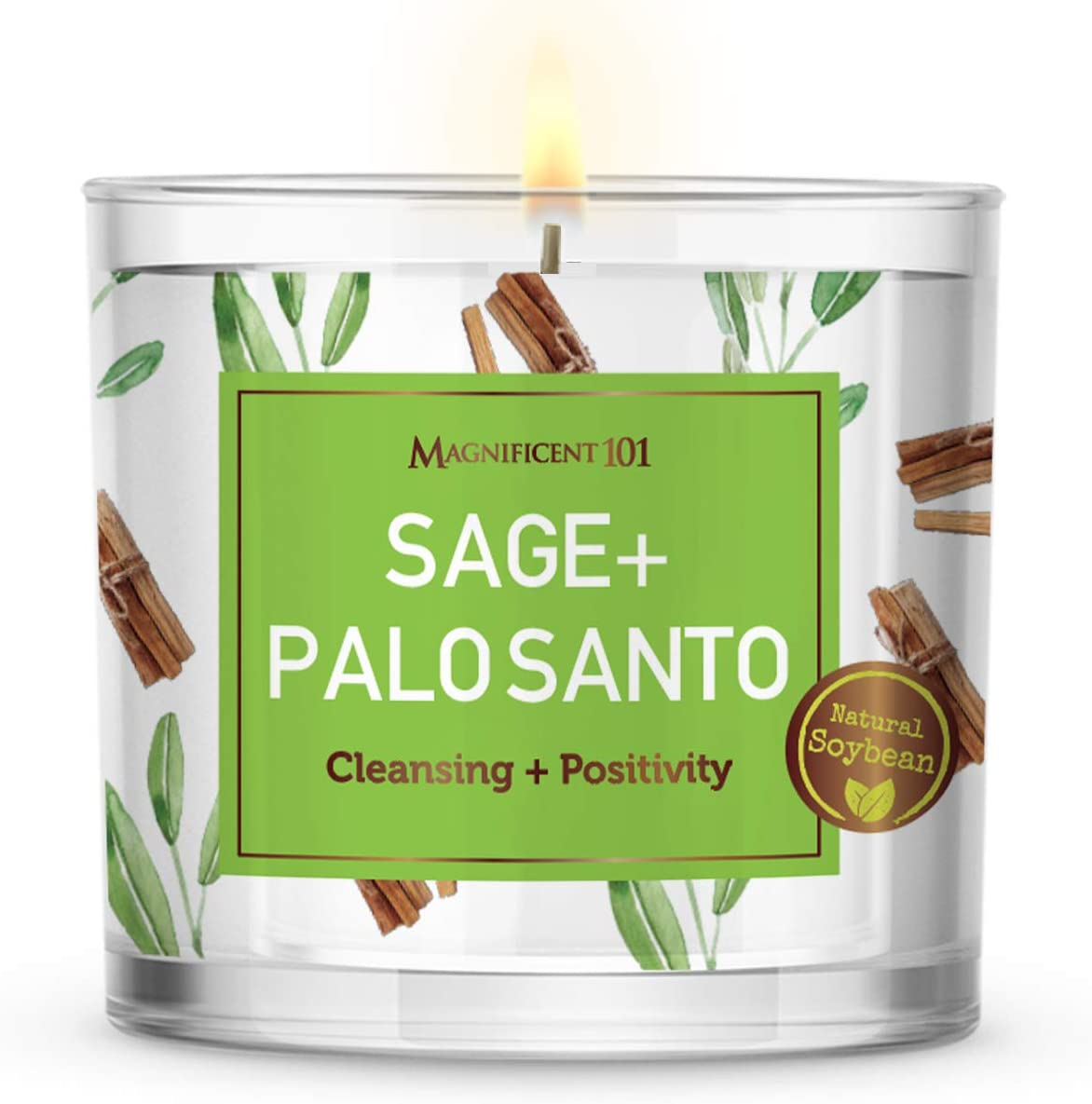 MAGNIFICENT 101 Large Sage + Palo Santo, Smudge Candle for House Energy Cleansing, Banishes Negative Energy I Purification and Chakra Healing - Natural Soy Wax Tin Candle for Aromatherapy (14oz)