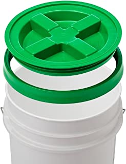 5 Gallon White Bucket & Gamma Seal Lid - Food Grade Plastic Pail & Gamma2 Screw Seal Tight Lid (Green)