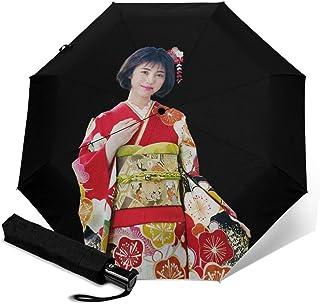 Model_Showa 折叠伞 一键自动开合 [最新版&2层构造] 耐强风 超防水 210t高强度玻璃纤维 防紫外线 隔热 结实 附带雨伞套