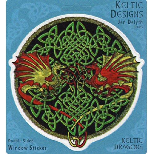 Peacemonger Keltic Designs Jen Delyth Celtic Dragons Art Decal Window Sticker