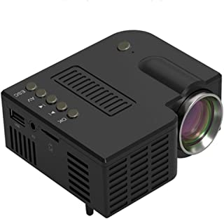 Mini Projector Portable LED Projector Supported Video Projector Compatible with TF, AV, USB for Home Theater (Black)