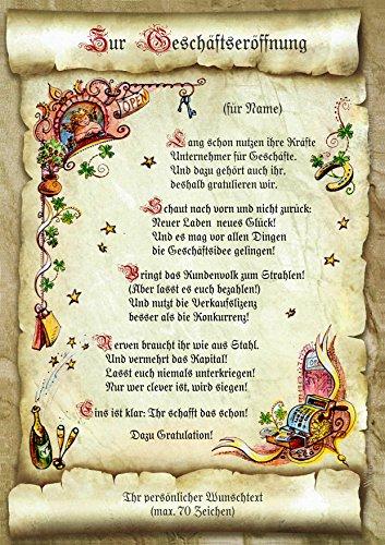Die Staffelei Geschenk-Urkunde zur Geschäftseröffnung, Zeichnung mit lustigem Gedicht Glückwunsch A4 Bild-Präsent zur Firmengründung, persönlich durch Wunschtext